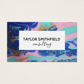 marble paint pour gold modern business card 名刺