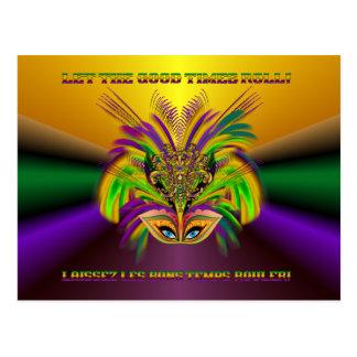 Mardi Grasマスク女王V 3 ポストカード