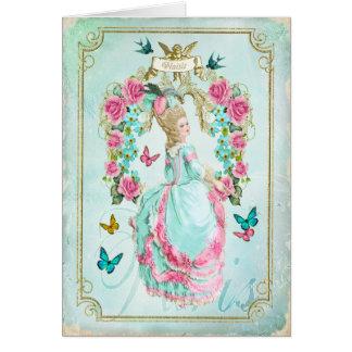 Marieアントワネットのぼろぼろのシックな蝶カード グリーティングカード