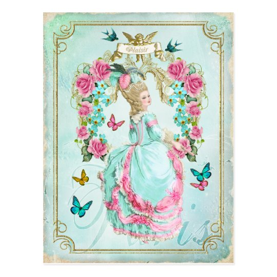 Marieアントワネットのぼろぼろのシックな蝶郵便はがき ポストカード