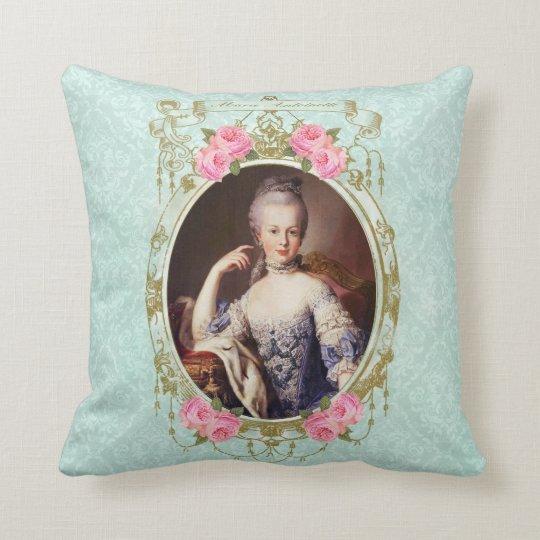 Marieアントワネットのダマスク織バラの枕ミントのクッション クッション