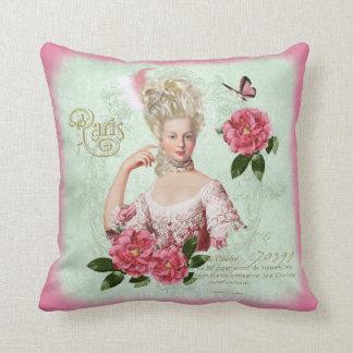 Marieアントワネットのピンクのダマスク織のシャクヤクの枕クッション クッション