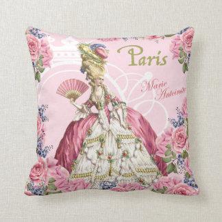 Marieアントワネットのピンクのバラフレームの枕 クッション