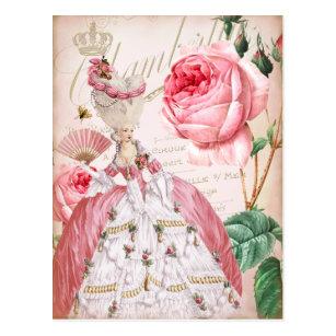 Marieアントワネットのピンクのヴィンテージのバラの郵便はがき ポストカード