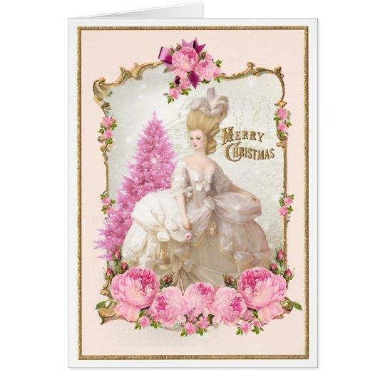 Marieアントワネットのピンクの木のバラのクリスマスカード カード