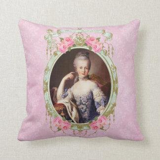 Marieアントワネットのローズピンクのダマスク織の枕クッション クッション