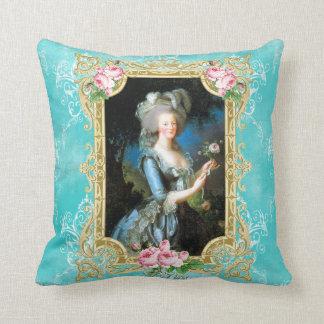 Marieアントワネットの青いダマスク織バラの枕クッション クッション