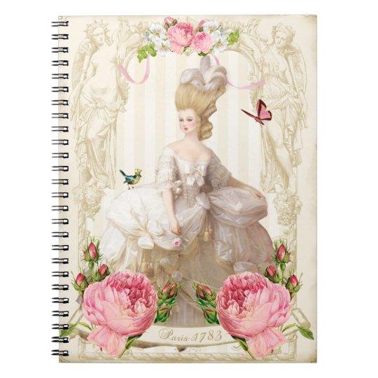 Marieアントワネット白いDress&Pinkのバラのノート ノートブック