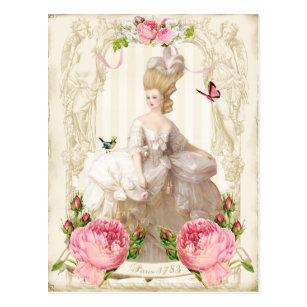 Marieアントワネット白いDress&Pinkのバラの郵便はがき ポストカード