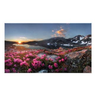 Marie湖の日の出2の-ジョンMuirの道-山脈 フォトプリント