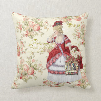 Marie Antoinette Beige Floral Pillow クッション