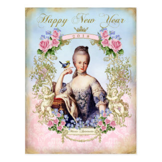 Marie Antoinette Bird Pink Roses Newyear  Postcard ポストカード