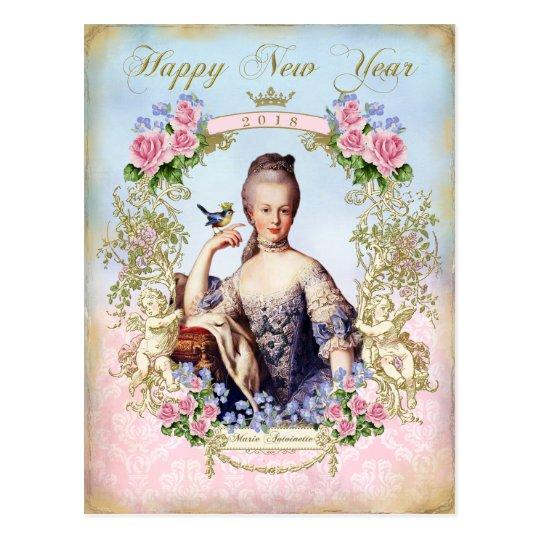 Marie Antoinette Bird Pink Roses  Postcard 年賀状 ポストカード