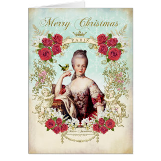 Marie Antoinette Bird Red Roses Christmas Card カード