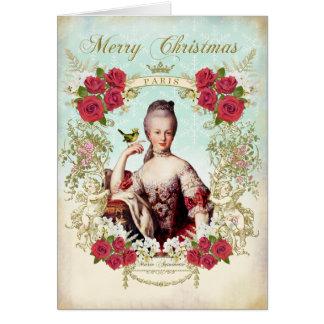 Marie Antoinette Bird Red Roses Christmas Card グリーティングカード