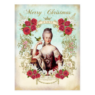 Marie Antoinette Bird Red Roses Christmas Postcard ポストカード