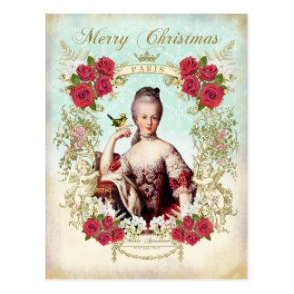 Marie Antoinette Bird Red Roses Christmas Postcard 葉書き