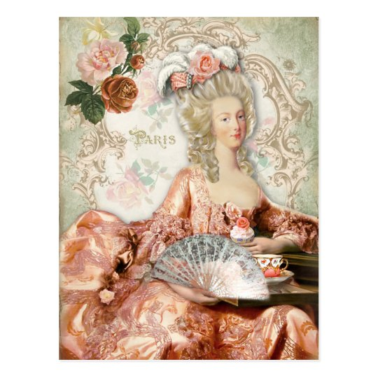 Marie Antoinette Cup Cake Tea Rose Postcard ポストカード