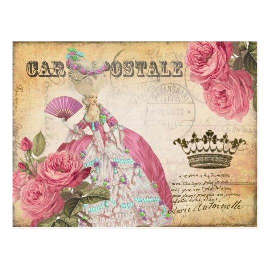 Marie Antoinette Gold Crown Rose Post Card ポストカード