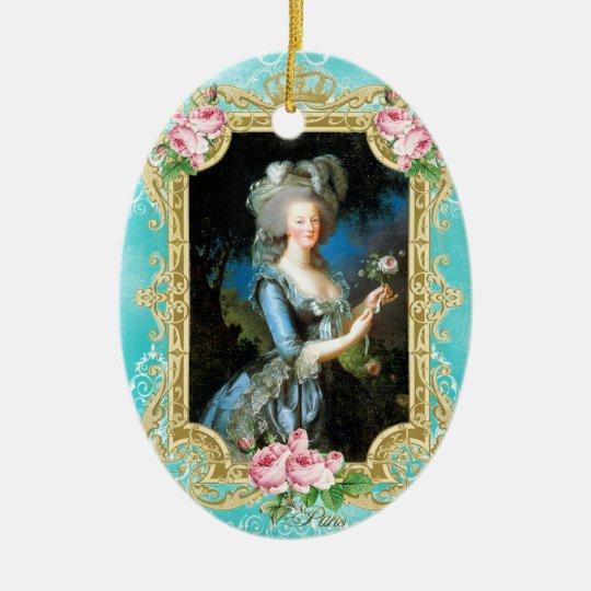 Marie Antoinette LeBrun Portrait Blue Damask Ornam セラミックオーナメント