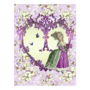 Marie Antoinette Lilac Dreams Purple Floral Print ポストカード