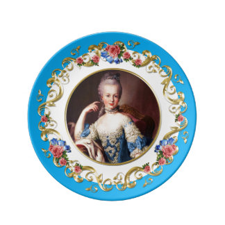 Marie Antoinette  Pink Rose Turquoise Blue Plate 磁器プレート