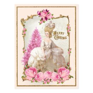 Marie Antoinette Pink Tree Roses  Xmas Postcard ポストカード