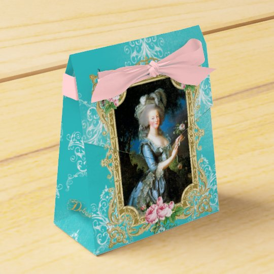 Marie Antoinette Portrait Blue Damask Favor Box フェイバーボックス
