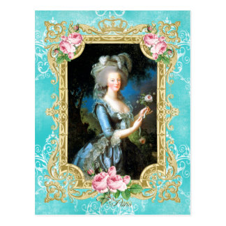 Marie Antoinette Portrait Blue Damask Postcard ポストカード