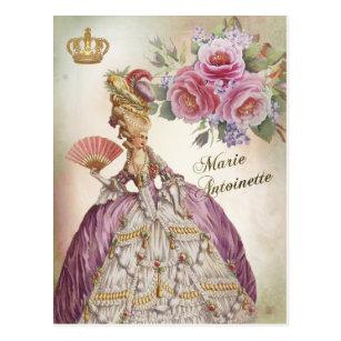 Marie Antoinette  Portrait Postcard vintage rose ポストカード