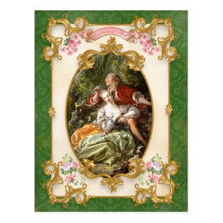 Marie Antoinette Sevres green Lovers Postcard 葉書き