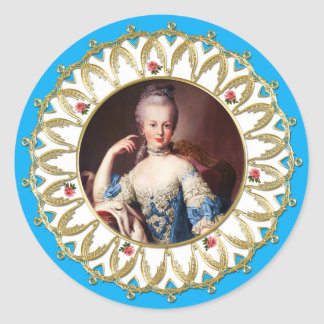 Marie Antoinette Sticker Blue Rose Gold Flame ラウンドシール