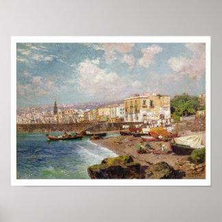 Marinella、ナポリ(oのビーチの漁船 ポスター