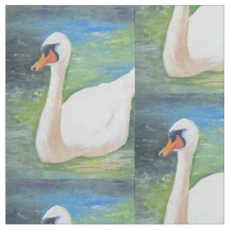 Marita著白い白鳥の生地のデザイン ファブリック