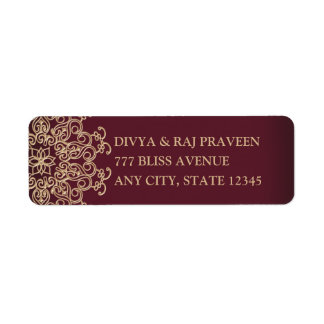MAROON AND GOLD INDIAN INSPIRED ADDRESS LABELS ラベル