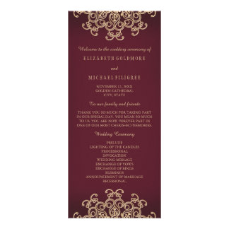 Maroon and Gold Indian Inspired Wedding Program ラックカード