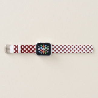 Maroon and White Polka Dot Apple Watch Band Apple Watchバンド