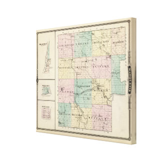 Marquette郡及びWestfieldの地図 キャンバスプリント