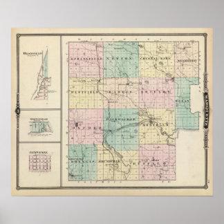 Marquette郡及びWestfieldの地図 ポスター