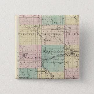 Marquette郡及びWestfieldの地図 5.1cm 正方形バッジ