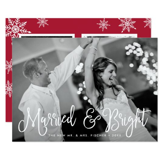 Married & Bright Holiday Photo Card + Back Message カード