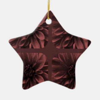 Marsalaのコラージュのダリアの花模様 陶器製星型オーナメント