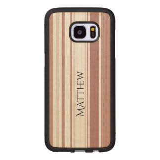 Marsalaの縞模様の陰を個人化して下さい ウッド Samsung Galaxy S7 Edge ケース