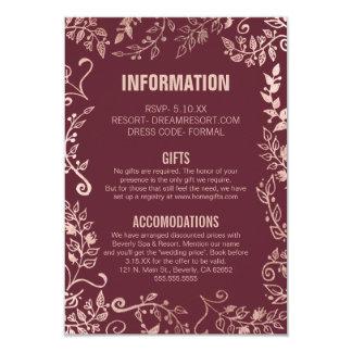 Marsalaの赤いバラの金ゴールドの花柄情報 カード