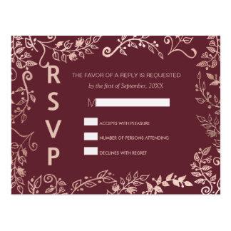 Marsalaの赤いバラの金ゴールド花RSVPの郵便はがき ポストカード