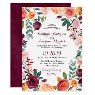 Marsalaの赤面のピンクの植物の花のリースの結婚式 カード