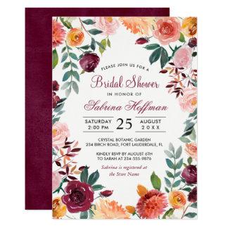 Marsalaの赤面のピンクの水彩画の花のブライダルシャワー カード