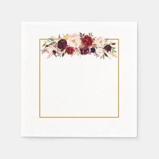 Marsalaの金ゴールドの正方形の花のモノグラムの結婚式のナプキン スタンダードカクテルナプキン