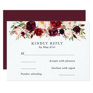 Marsalaバーガンディは開花しまRSVPカードを結婚します カード