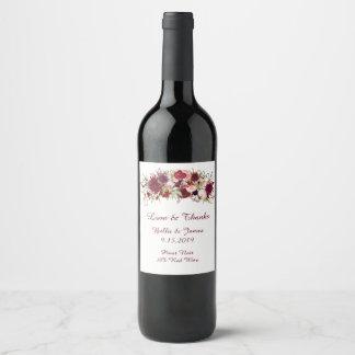 Marsala赤い花のBohoの結婚式のワインのラベル ワインラベル